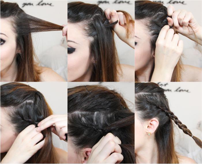 como fazer penteado trança lateral coque rabo bagunçado (2)