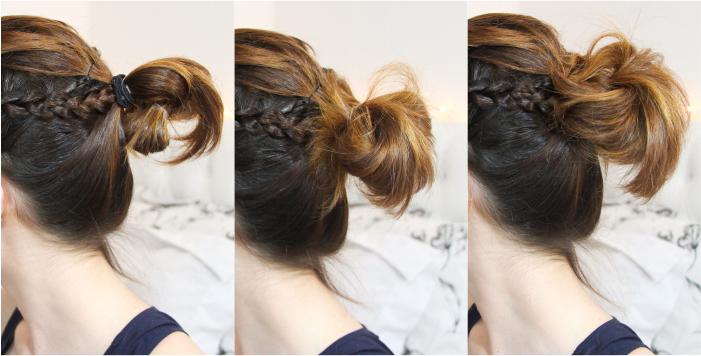 como fazer penteado trança lateral coque rabo bagunçado (8)