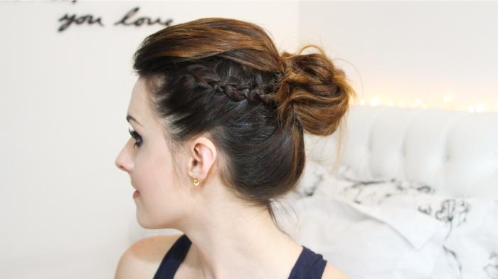 como fazer penteado trança lateral coque rabo bagunçado (9)