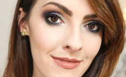 Maquiagem para Noite Roxa e Dourada com produtos Toque de…