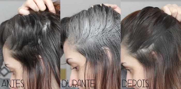 shampoo a seco antes durante e depois teste