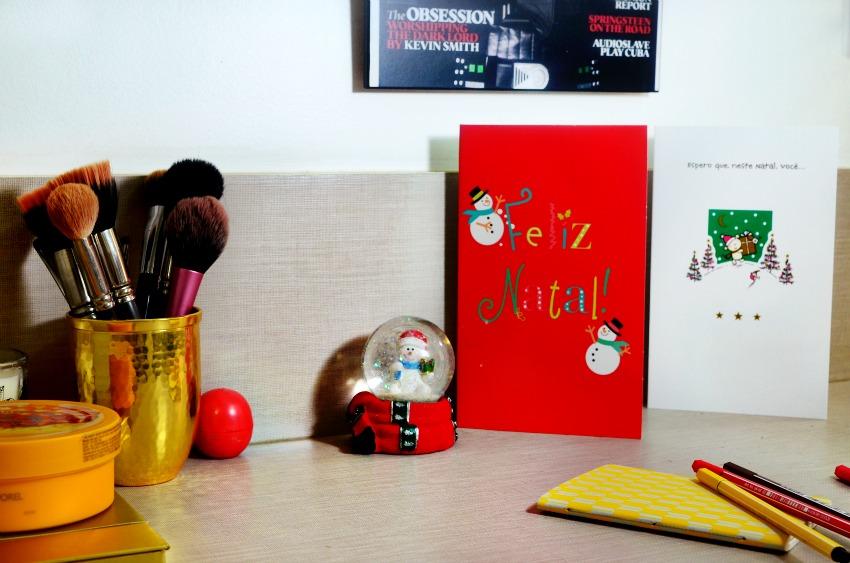 mesa de trabalho decorada para o natal abc de beleza e ai beleza