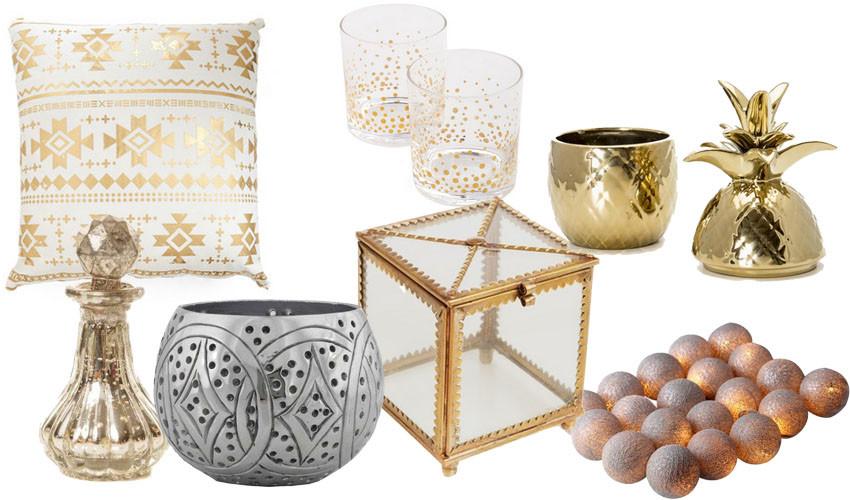 montagem produtos dourado prateado decoracao