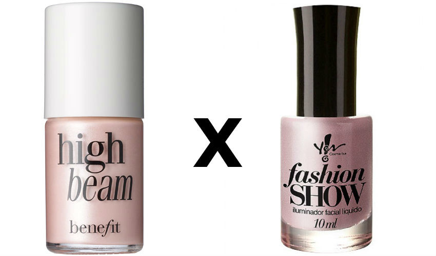 Iluminador High Beam, Benefit (R$ 129) e Iluminador Fashion, Yes Cosmetics! (R$ 21,90)