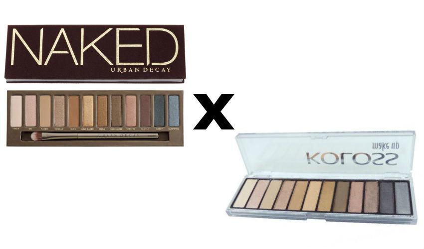 Estojo de sombras Naked 1, Urban Decay (R$ 219) e  Paleta de sombras Powerful (R$ 64,90)