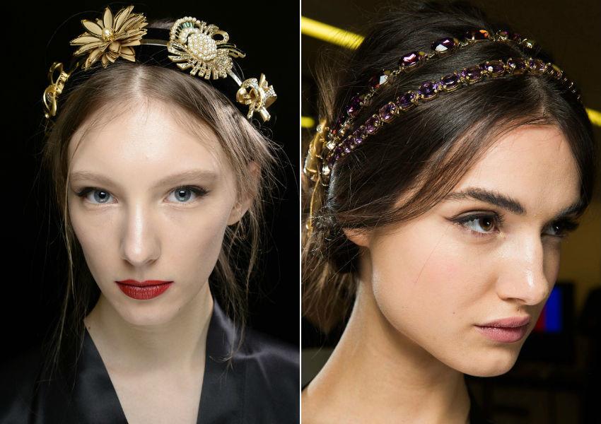 Tiaras com flores e pedras no desfile de Inverno 2015 da Dolce&Gabbana