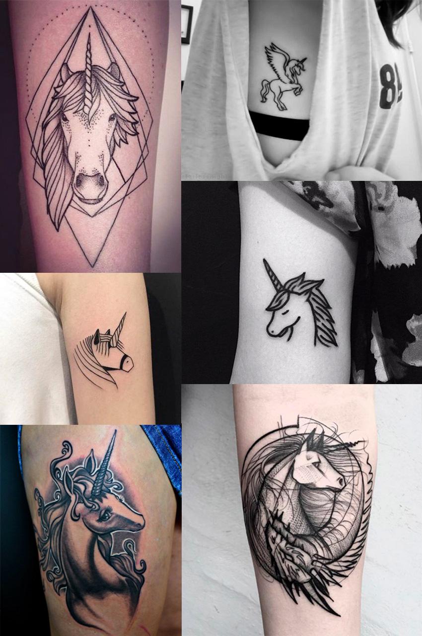 tatuagens-de-unicornio-preto-e-branco